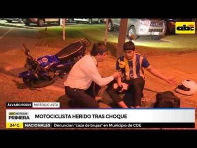 Motociclista herido tras choque
