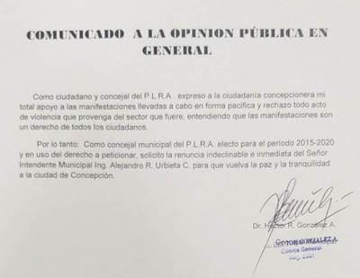 Concejal liberal se une a pedido de renuncia