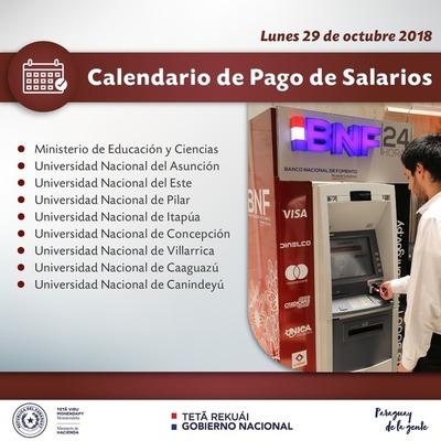 Hacienda paga salarios a docentes, funcionarios del MEC y de universidades esta tarde