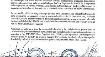 Unves aclara que es improcedente la resolución que repone al ex rector José Félix GonzalezFernadez