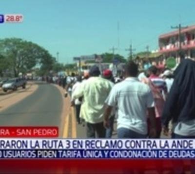 Realizan marchas pidiendo condonación de deudas a la ANDE en San Pedro