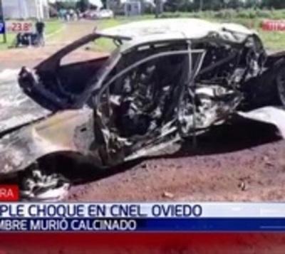 Hombre fallece calcinado tras triple choque en Coronel Oviedo