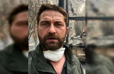 Actor Gerard Butler muestra las ruinas de su casa que fue arrasada por el fuego