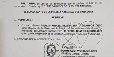 Incertidumbre sobre cambios en Dirección de Policía de Guairá