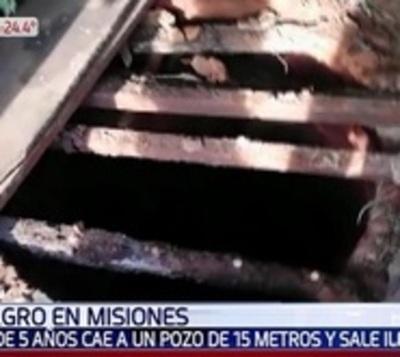 Niño se salva de milagro tras caer a un pozo de 15 metros