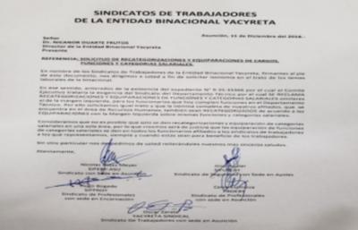 Funcionarios paraguayos de la EBY solicitan equiparación salarial y recategorización de sus funciones,