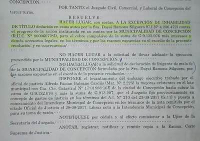 Municipalidad sufre revés judicial, por mal planteamiento de una acción