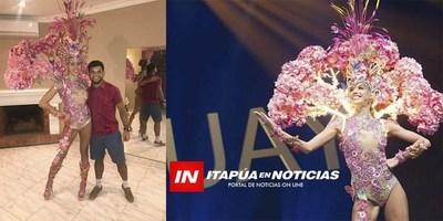 """""""LAPACHO ROSADO"""" EL VESTIDO DE LA MISS PARAGUAY DISEÑADO POR UN ITAPUENSE"""