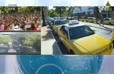 Violenta movilización de taxistas contra MUV y UBER