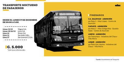 Habrá buses toda la madrugada, pero a 5.000 guaraníes