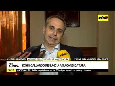 Köhn Gallardo renuncia a su candidatura