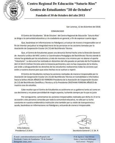 """CRESR: Comunicado del Centro de Estudiantes """"30 de Octubre"""""""