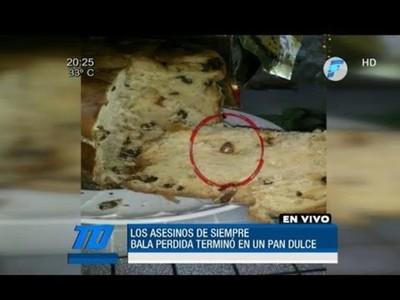 Bala perdida quedó en un pan dulce luego de traspasar el techo