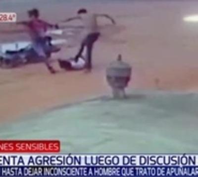 Brutal golpiza contra hombre que habría herido con cuchillo a tres