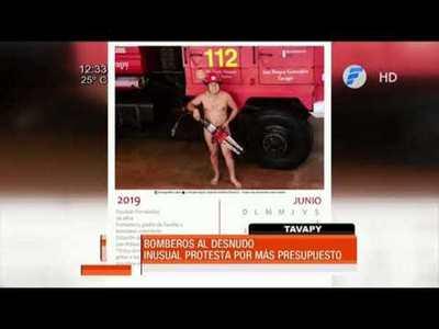 Bomberos posan desnudos como medida de protesta