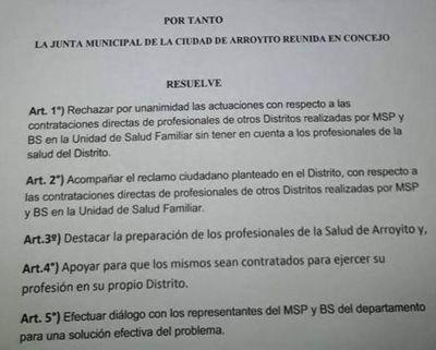En Arroyito no quieren a funcionarios de otros distritos