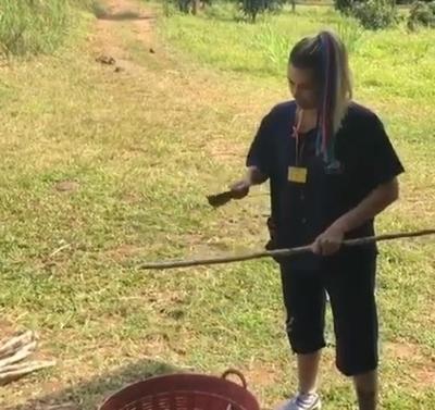 "Carmiña Masi se animó a cortar ""takuare'e"""