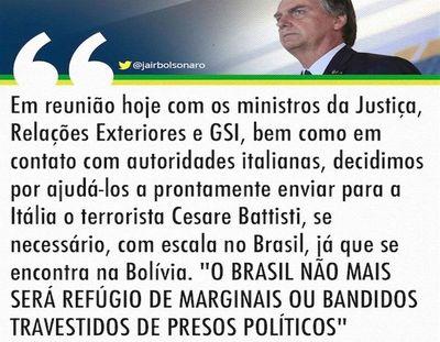 """Brasil ya no permitirá marginales """"disfrazados de presos políticos"""""""
