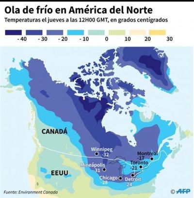 Norte de EE.UU. se petrifica con ola de frío polar