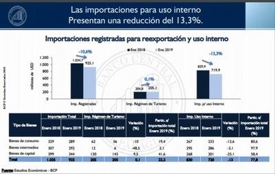 Importaciones de bienes de consumo disminuyeron 13%