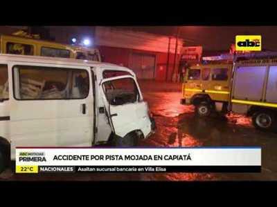 Accidente por pista mojada en Capiatá