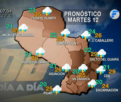 Día con precipitaciones y tormentas eléctricas