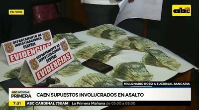 Detienen a sospechosos de millonario asalto en sucursal bancaria