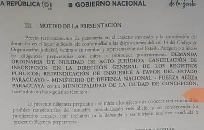 Estado Paraguayo presenta demanda contra Municipalidad de Concepción