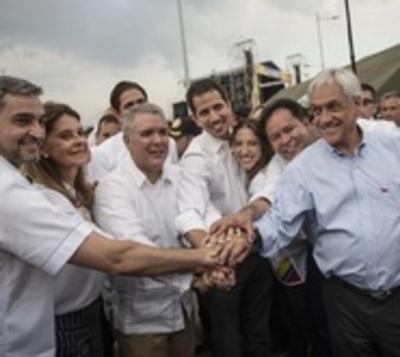 Guaidó cruzó la frontera y se unió a fiesta con Abdo y más mandatarios
