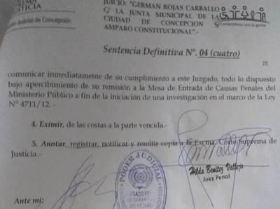 Intendente y Junta Municipal sufren revés en juicios de amparo