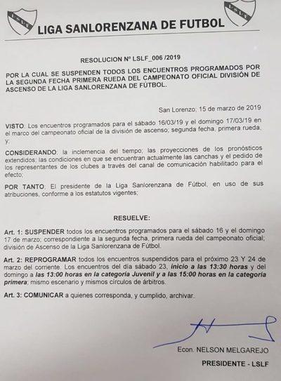 LSLF: Suspenden todos los partidos de mañana y domingo