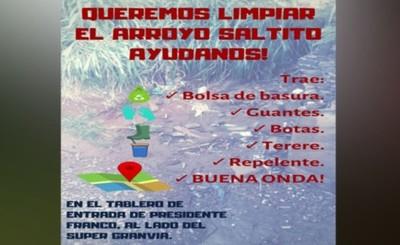 Convocan a jóvenes para limpiar Arroyo Saltitos