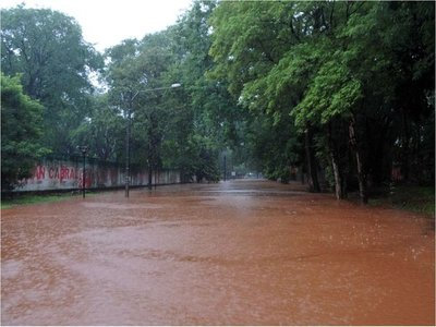 Torrencial lluvia inunda avenidas y desborda arroyos en el Alto Paraná