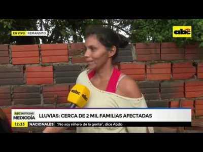 Lluvias: Cerca de 2.000 familias afectadas