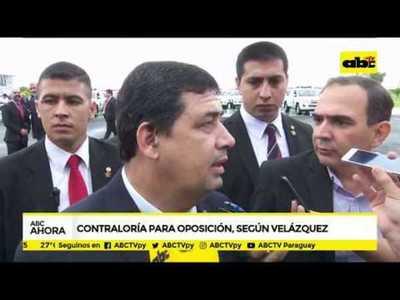 Contraloría para oposición, según Velázquez