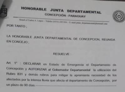 Junta Departamental declara estado de emergencia