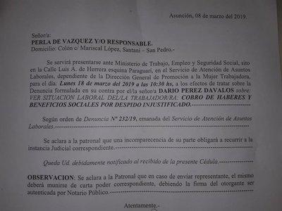 Exempleado denuncia a Perla de Vázquez por despido injustificado