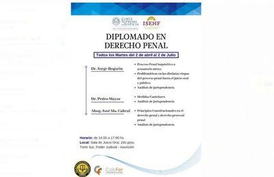 Realizarán Diplomado en Derecho Penal
