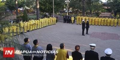 JURÓ LA PRIMERA REMESA DE BOMBEROS AMARILLOS EN CNEL. BOGADO.