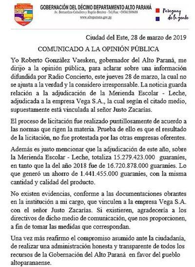 """Gobernador ataca y dice que """"no sabía"""" que  ganadora de licitación es de Lucho Zacarías"""