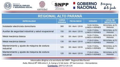 SNPP iniciará cursos