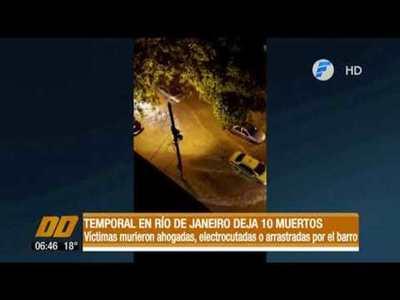Temporal en Río de Janeiro deja 10 muertos