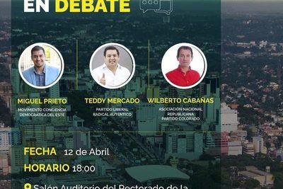 Candidatos a intendente debatirán hoy en la UNE