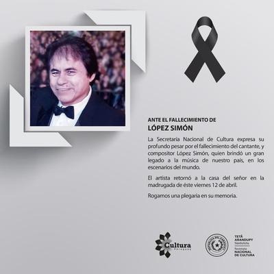 Cultura manifiesta pesar por el fallecimiento de López Simón