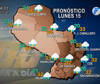 Probabilidad de precipitaciones dispersas para hoy y mañana