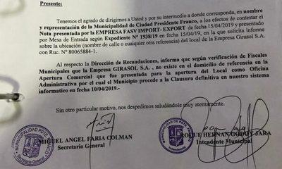 Municipalidad de Franco confirma que Girasol SA dio datos falsos y cancela patente comercial