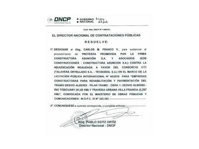 DNCP cambia a juez instructor en la protesta de  ruta Alberdi-Pilar