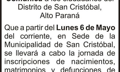 Registro Civil realizará tareas en San Cristóbal