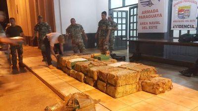 Incautan 874 kilos de marihuana de puerto clandestino en Alto Paraná