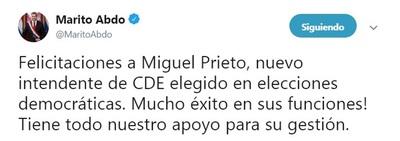 Marito Abdo felicita a nuevo intendente de CDE
